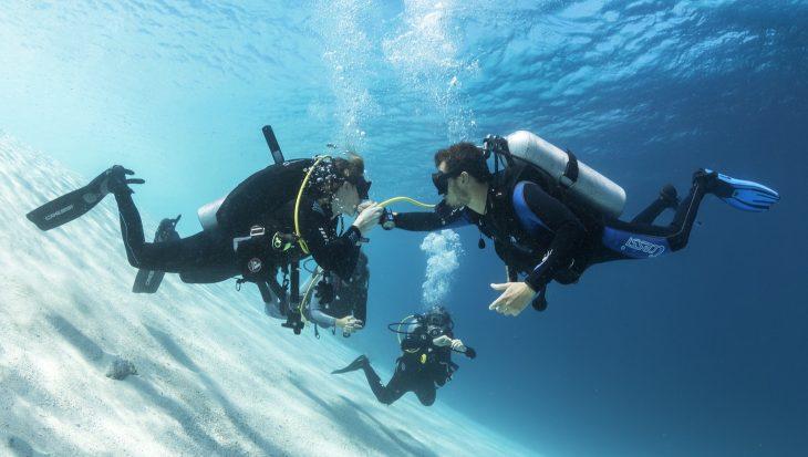 Afgeleid tijden het duiken