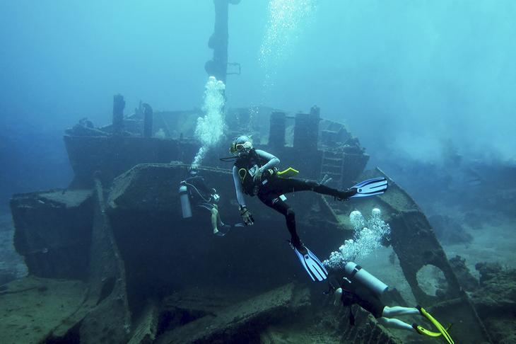 Voordat het vrachtschip El Aguila tot zinken werd gebracht, is het voor sportduikers aangepast. Je kunt de open ruimtes in en op zoek gaan naar de vaste bewoners.