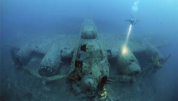 B-17 Flying Fortress bij het eiland Vis