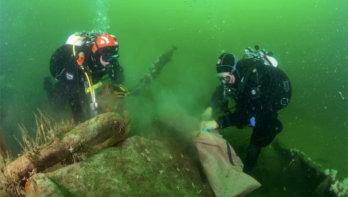 Noordzee clean-up duik van de SS Ara